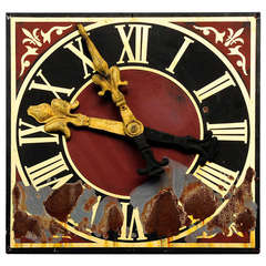 Church Metal Clock Face with Gilded Hands