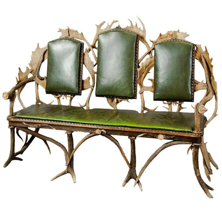 Antique Black Forest Three Seater Antler Sofa, 1900