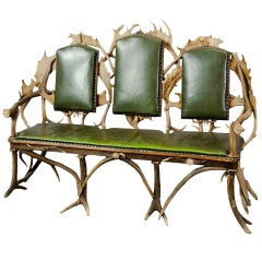 Antique Black Forest Three Seater Antler Sofa, 1900