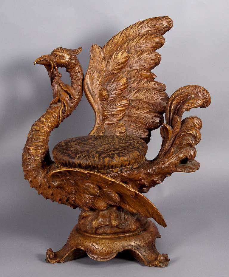 Carved Wood Mythological Bird Chair Italy 1880 For Sale