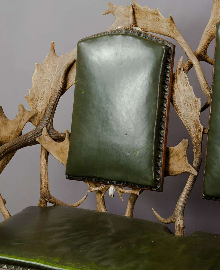 19th Century Antique Black Forest Three Seater Antler Sofa, 1900 For Sale