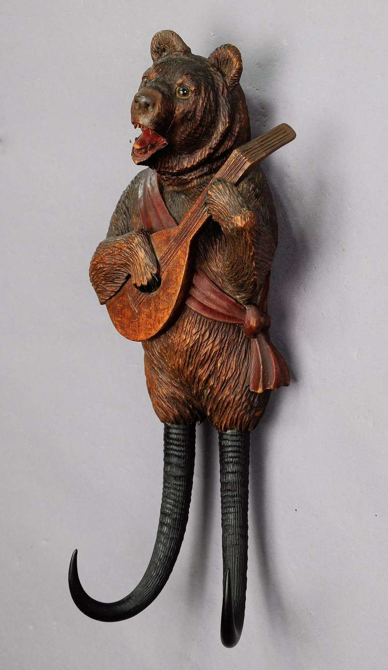 Black Forest Carved Wood Bear Whip Holder With Music