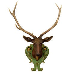 antique carved wood stag head with huge antlers ca. 1905