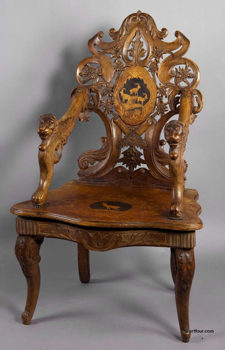Carved and inlaid edelweis chair with musical work swiss