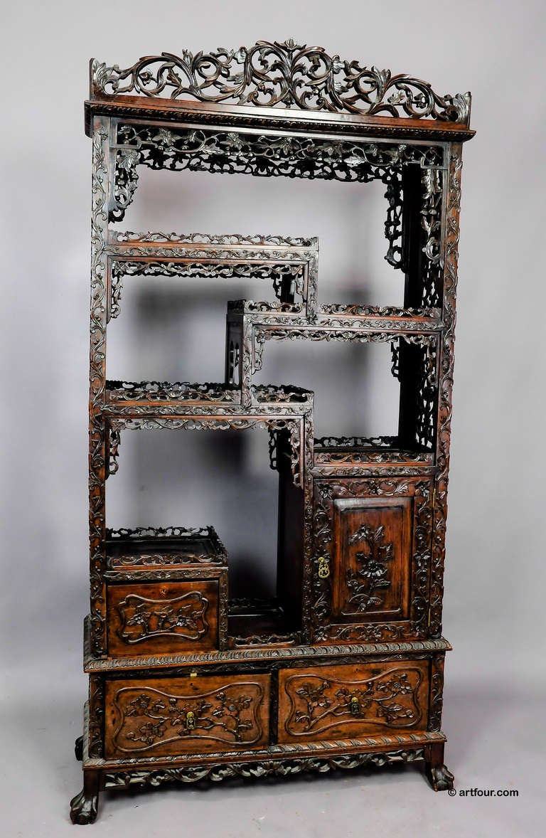 Large carved chinese bookcase ca 1900 at 1stdibs for Asian furniture emeryville ca