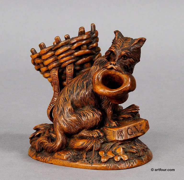Black forest carved begging dog brienz circa for