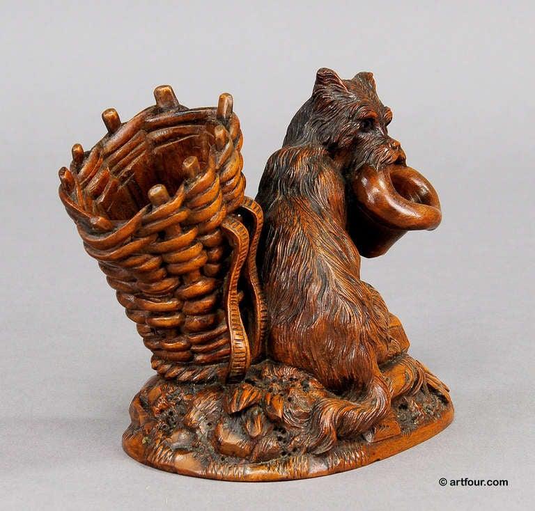 Black forest carved begging dog brienz circa for