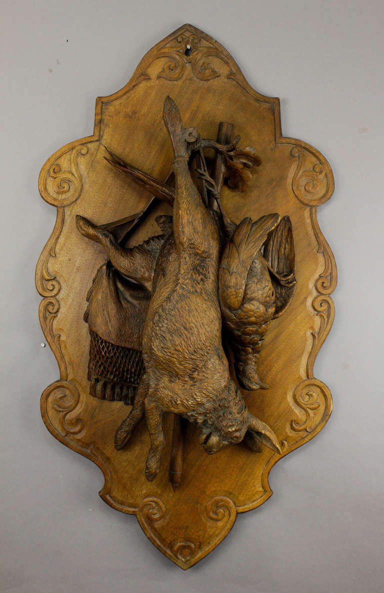 Fine carved wood game plaque with hare at stdibs