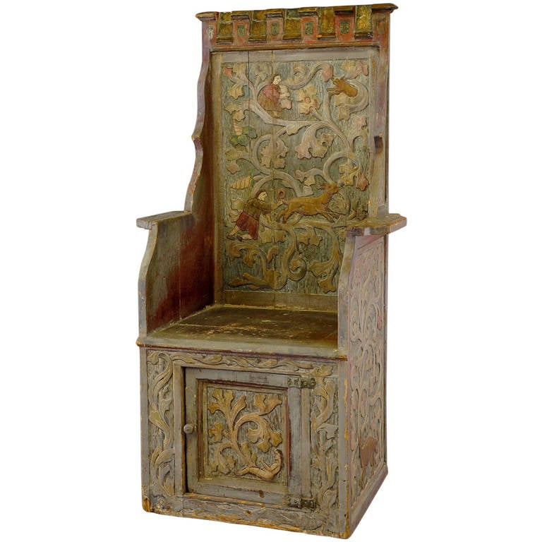Carved wood chair in gothic style at stdibs
