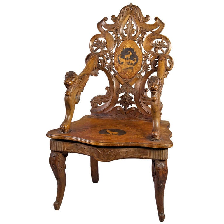Carved and Inlaid Edelweis Chair with Musical Work, Swiss, 1900