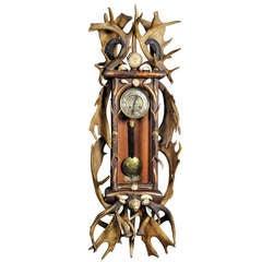 Huge Antique Black Forest Antler Clock Regulator 1900
