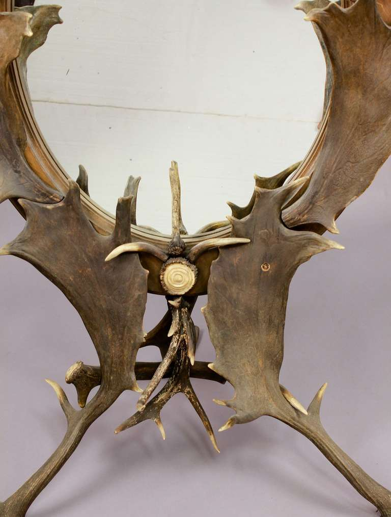 Black Forest Antler Standing Mirror Circa 1890 For Sale