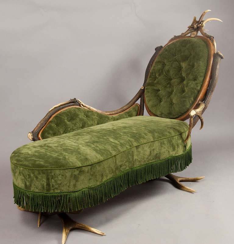 Antique antler chaise longue ca 1890 at 1stdibs for Antique chaise longue for sale