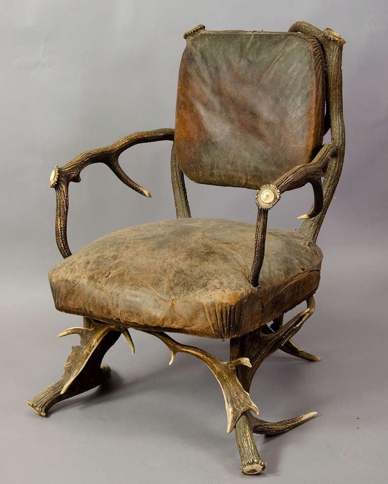 Antique Black Forest Antler Arm Chair, Austria 1890 2
