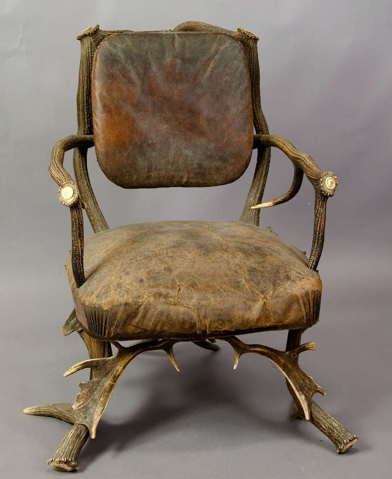 Antique Black Forest Antler Arm Chair, Austria 1890 3