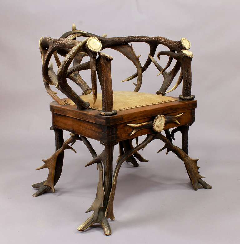 German Set of Four Black Forest Antler Armchairs, circa 1900 For Sale