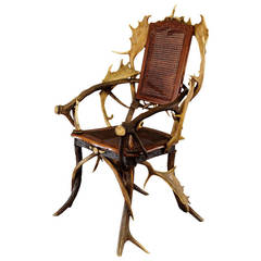 Wonderful Antique Black Forest Antler Armchair