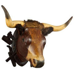 Wooden Carved Bull Head from a Butchery, circa 1880