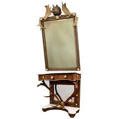 Antique Antler Mirror with Console Table, Austria, circa 1860
