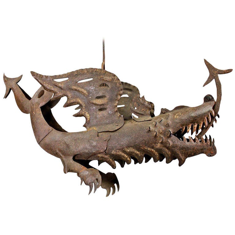 Large Dragon Shop Sign of Hand-Forged Iron, circa 1890