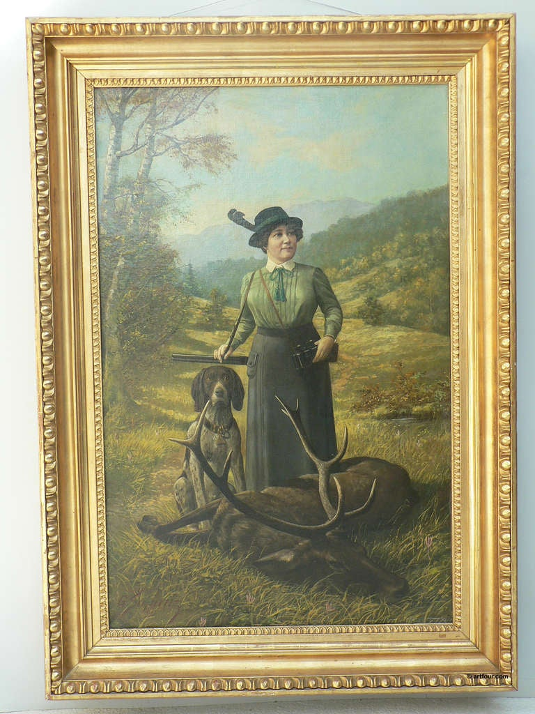 Antique Hunting Oil Painting By Supanz 1913 For Sale At