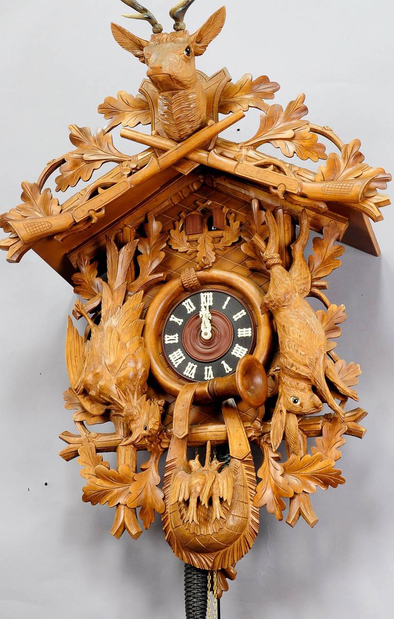 Large Vintage Black Forest Carved Cuckoo Clock At 1stdibs