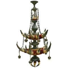 Antique Bull Horn Ceiling Lamp, circa 1880