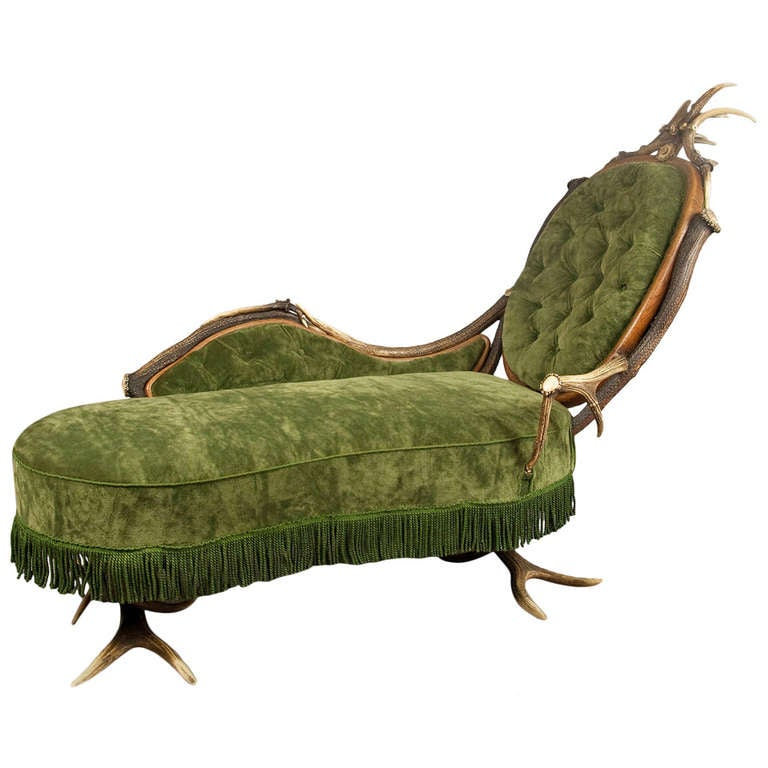 Antique antler chaise longue ca 1890 at 1stdibs - Antique chaise longue ...