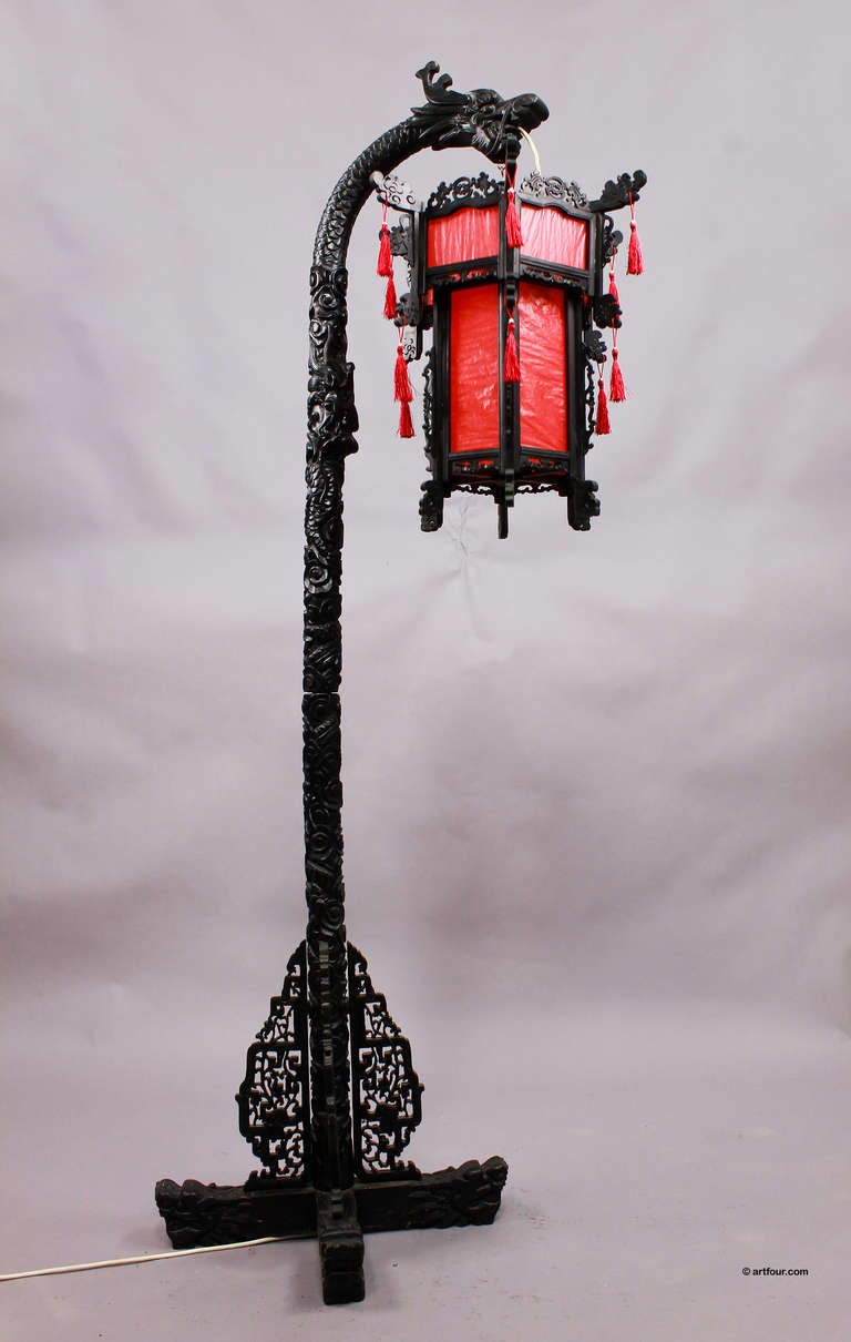 Carved Wood Chinese Dragon Floor Lamp Ca 1920 At 1stdibs