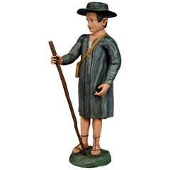 Antique Wooden Carved Statue of a Shepherd