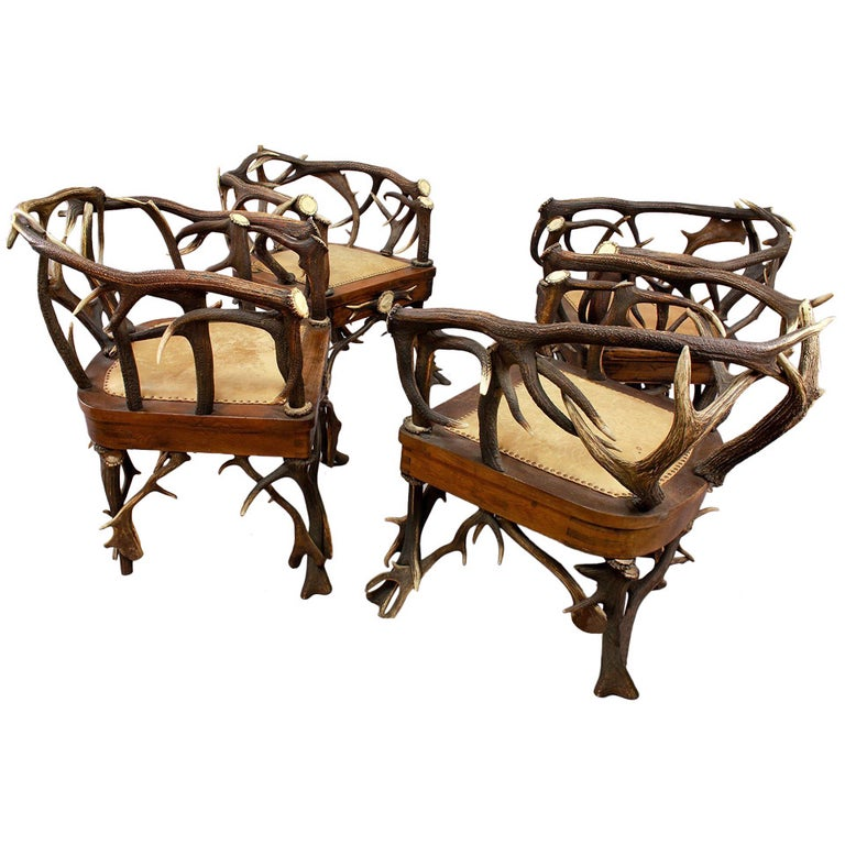 Set of Four Black Forest Antler Armchairs, circa 1900 For Sale