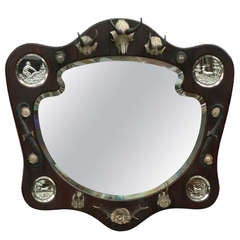 Antique Hunting Wall Mirror with Trophies, circa 1910