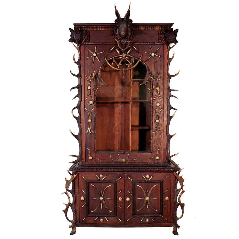 Antique Black Forest Antler Gun Cabinet Bohemia, circa 1870 1 - Antique Black Forest Antler Gun Cabinet Bohemia, Circa 1870 For