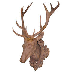 19th Century Life-Size Cast Iron Stag Head on Plaque