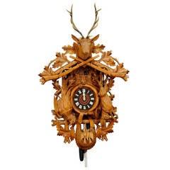 Large Vintage Black Forest Carved Cuckoo Clock
