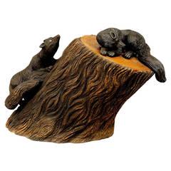 Great Black Forest Carved Wood Wastepaper Basket with Lid