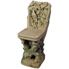 Figural Carved Sandstone Chair, Italy, 1910