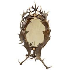 Black Forest Antler Standing Mirror, circa 1890
