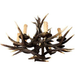 shapely antique antler chandelier