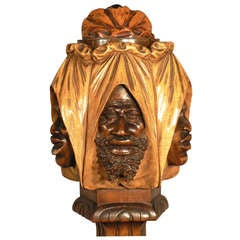 Carved Wood Humidor with Arab Faces, Vienna, 1910