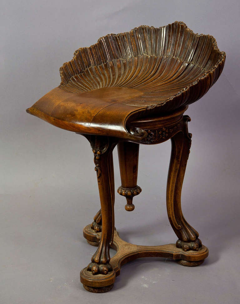 Antique carved wood piano stool grotto design ca at