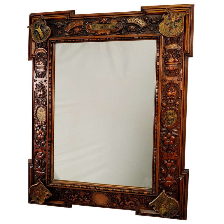 Large mirror with wooden carved frame partenkirchen 1888 for Large wall mirror wood frame