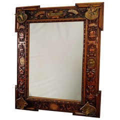 large mirror with wooden carved frame, partenkirchen 1888