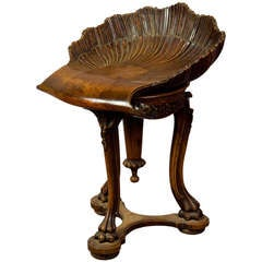 Antique Carved Wood Piano Stool Grotto Design Ca. 1880