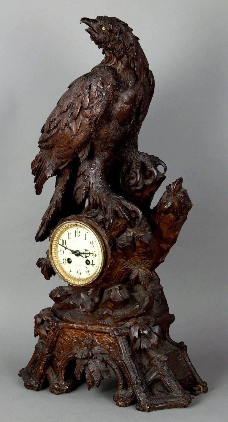 Antique Carved Wood Eagle Table Clock Swiss 1900 For