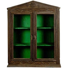 Antique Wooden Tramp Art Cabinet, circa 1900
