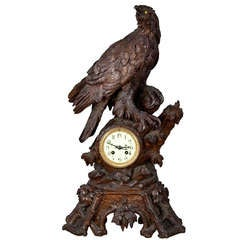 Antique Carved Wood Eagle Table Clock, Swiss, 1900