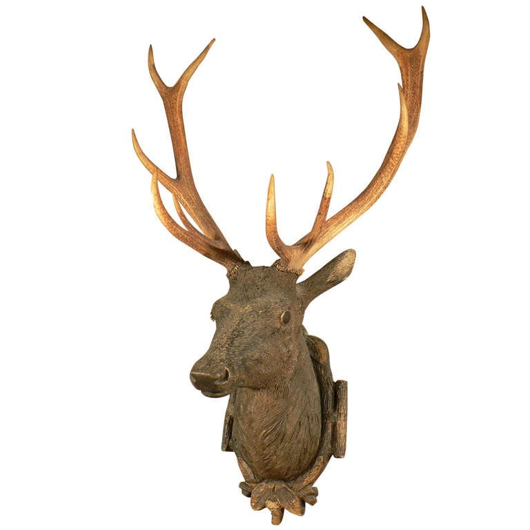 Black Forest Wooden Carved Stag Head Ca. 1900 at 1stdibs