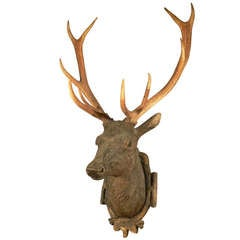 Black Forest Wooden Carved Stag Head Ca. 1900
