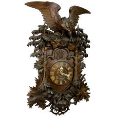 Rare Antique Black Forest Cuckoo Clock with Eagle